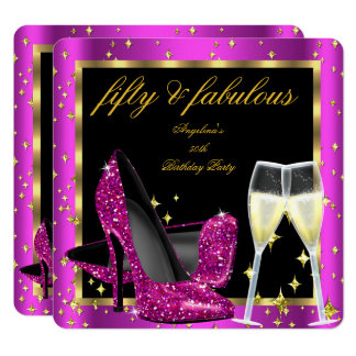 Fabulous 50 Rich Pink Champagne Heels Birthday Card