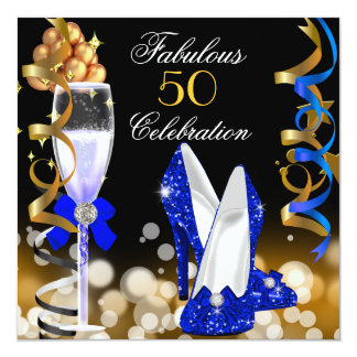 Fabulous 50 Royal Blue Black Gold Birthday Party 5.25x5.25 Square Paper Invitation Card