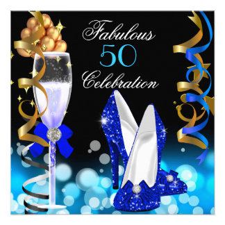 Fabulous 50 Royal Blue Black Gold Bubbles Party Custom Announcements