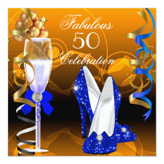 Fabulous 50 Royal Blue Gold Orange Birthday Party 5.25x5.25 Square Paper Invitation Card