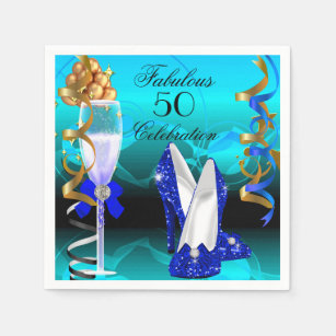 Fabulous 50 Royal Blue Teal Gold Birthday Party Disposable Serviette