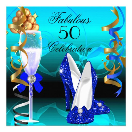 Fabulous 50 Royal Blue Teal Gold Birthday Party Custom Announcement