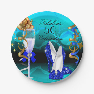 Fabulous 50 Royal Blue Teal Gold Birthday Party Paper Plate