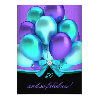 Fabulous 50 Teal Purple Black Birthday Party 2 11 Cm X 16 Cm Invitation Card
