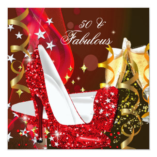 Fabulous 50 Woman's Red Gold Birthday Party 13 Cm X 13 Cm Square Invitation Card