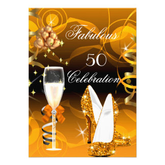 Fabulous 50 Yellow Gold Orange Birthday Party Invitations