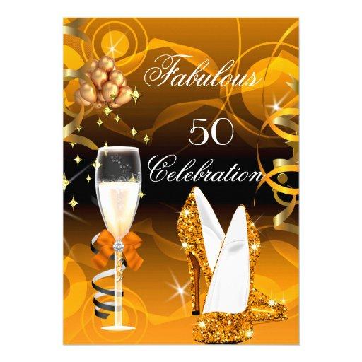 Fabulous 50 Yellow Gold Orange Birthday Party Invitations