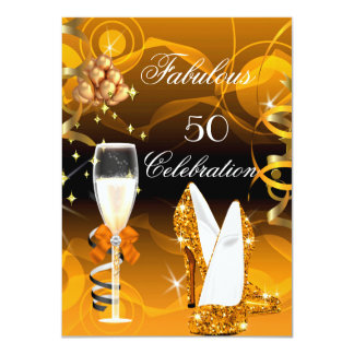 Fabulous 50 Yellow Gold Orange Birthday Party 4.5x6.25 Paper Invitation Card