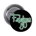 Fabulous 50th Birthday 6 Cm Round Badge