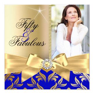 Fabulous 50th Blue Gold Leaf & Bow 50th Birthday Card