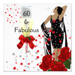 Fabulous 60 60th Birthday Party Red Roses White 13 Cm X 13 Cm Square Invitation Card