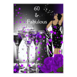 Fabulous 60 60th Birthday Purple Roses Martini 13 Cm X 18 Cm Invitation Card