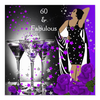Fabulous 60 60th Birthday Purple Roses Martini 13 Cm X 13 Cm Square Invitation Card