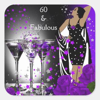 Fabulous 60 60th Birthday Purple Roses Martini Stickers