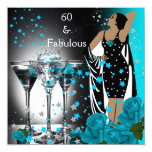Fabulous 60 60th Birthday Teal Roses Martini 13 Cm X 13 Cm Square Invitation Card