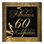 Fabulous 60 Celebration Gold Black Birthday Party 13 Cm X 13 Cm Square Invitation Card