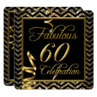 Fabulous 60 Chevron Gold Black Birthday Party Card