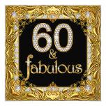 Fabulous 60 Gold Diamond Black 60th Birthday Party 13 Cm X 13 Cm Square Invitation Card
