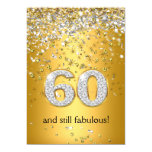 Fabulous 60 Gold Silver Streamers 60th Birthday 13 Cm X 18 Cm Invitation Card