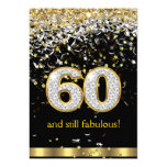 Fabulous 60 Gold Silver Streamers 60th Birthday B 13 Cm X 18 Cm Invitation Card