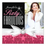 Fabulous 60 Photo Damask Pink 60th Birthday Party 13 Cm X 13 Cm Square Invitation Card