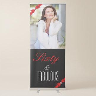Fabulous 60 Photo Red Black Elegant Birthday Retractable Banner
