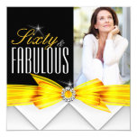 Fabulous 60 Photo Yellow Elegant Modern Birthday 2 13 Cm X 13 Cm Square Invitation Card