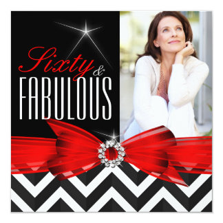Fabulous 60 Red Chevron Black White Birthday 13 Cm X 13 Cm Square Invitation Card