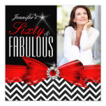 Fabulous 60 Red Chevron Black White Birthday 2 13 Cm X 13 Cm Square Invitation Card