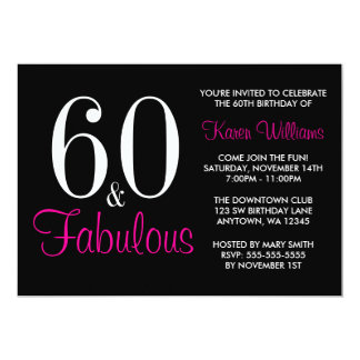 "Fabulous 60th Black Pink Birthday Party Invitation 5"" X 7"" Invitation Card"