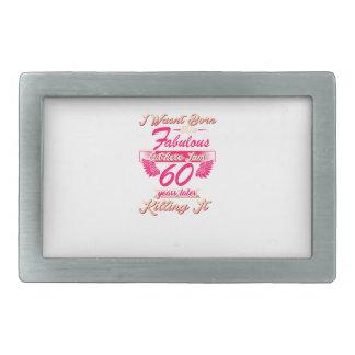 Fabulous 60th year birthday party gift tee rectangular belt buckles
