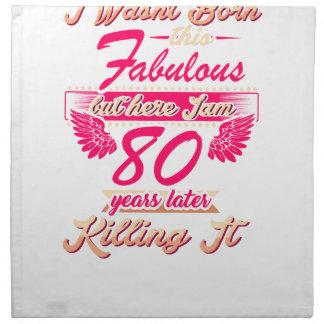Fabulous 80th year birthday party gift tee napkin