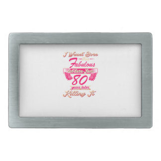 Fabulous 80th year birthday party gift tee rectangular belt buckle