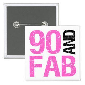 Fabulous 90th Birthday 15 Cm Square Badge