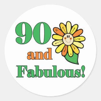 Fabulous 90th Birthday Gifts Round Sticker