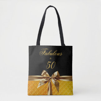 Fabulous and 50 Black Gold Bow sparkle Leather Tote Bag