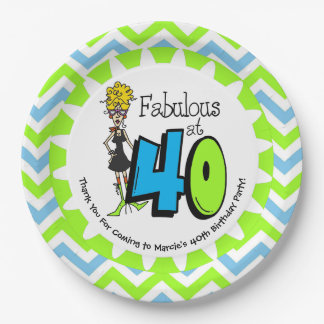 Fabulous at 40 40th Birthday Paper Plates