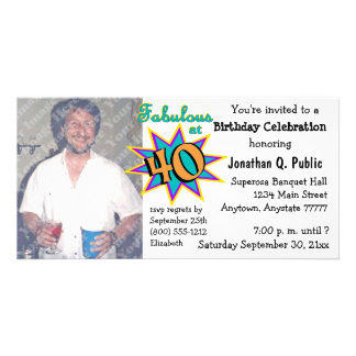 Fabulous At 40 Birthday Party Photo Invitation Photo Card Template