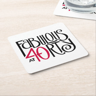 Fabulous at 40rty black red Coasters