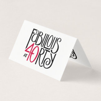 Fabulous at 40rty black red Folded Place Cards