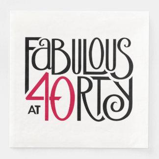 Fabulous at 40rty black red Paper Napkins Disposable Serviette