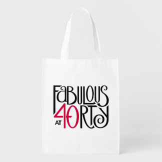 Fabulous at 40rty black red Reusable Bag