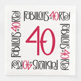 Fabulous at 40rty long black red Paper Napkins Disposable Serviette