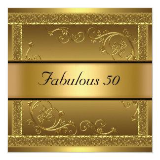 Fabulous at 50 Birthday Party Gold Invitation