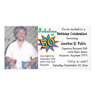 Fabulous At 50 Birthday Party Photo Invitation Customized Photo Card