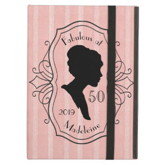 Fabulous at Fifty Cameo Lady Silhouette Dusty Pink Cover For iPad Air