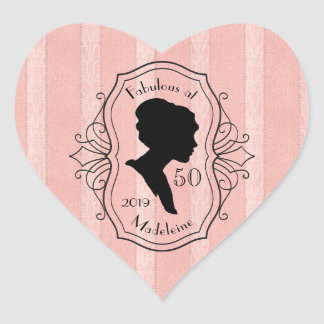 Fabulous at Fifty Cameo Lady Silhouette Dusty Pink Heart Sticker
