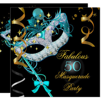Fabulous Birthday Teal Gold Black Masquerade Party Card