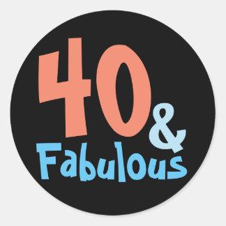 Fabulous Black Birthday Party Classic Round Sticker
