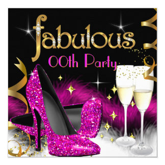 Fabulous Champagne Party Glitter Pink High Heel Card